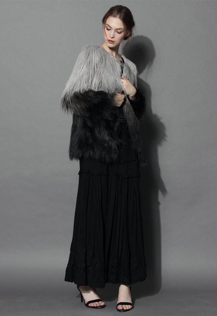 Super Star Dip Dyed Faux Fur Coat