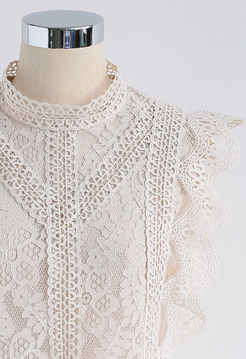 Your Sassy Start Sleeveless Crochet Lace Top in Beige