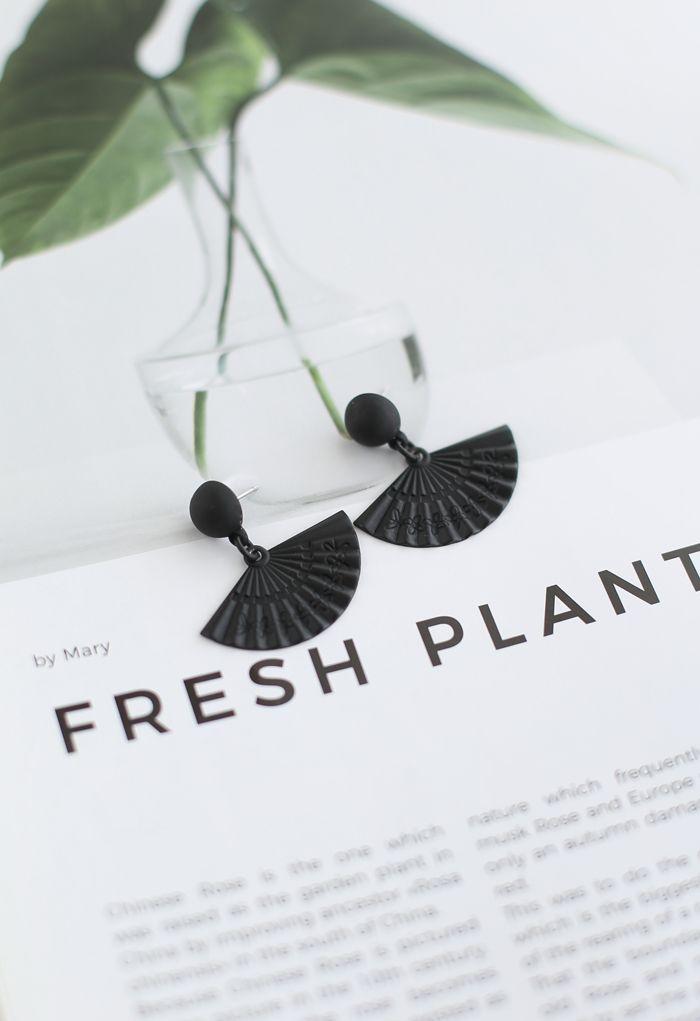 Black Folded Fan Earrings