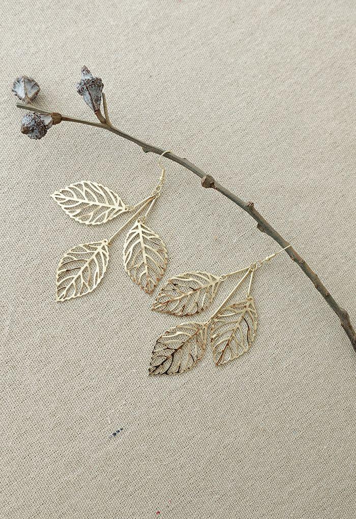 Golden Leaf Branch Drop Earrings
