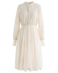Lacy Mesh Button Down Midi Dress