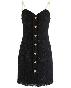 Raw Hem Tweed Button Down Cami Dress in Black