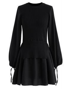 Fake Two-Piece Chiffon Knit Skater Dress in Black
