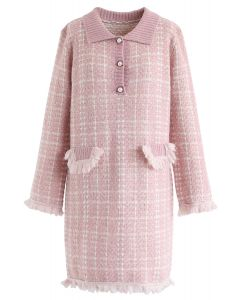 Pointed Neck Tasseled Knit Shift Dress in Pink