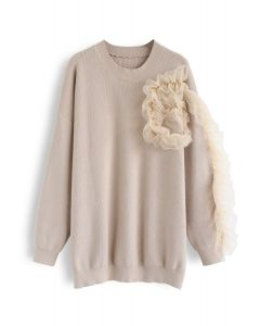 3D Mesh Decorated Sleeves Knit Sweater in Tan