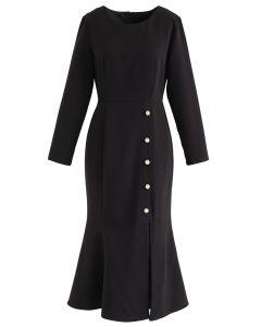 Pearls Embellished Split Ruffle Dress in Black