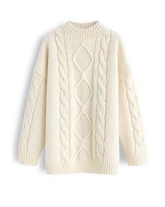 Oversize Braid Texture Knit Sweater in Cream