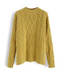 Cozy Braid Texture Knit Sweater in Mustard