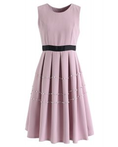 Pearls and Crystals Trim Pleated Sleeveless Dress