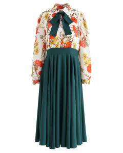 Floral Bowknot Brooch Spliced Chiffon Dress