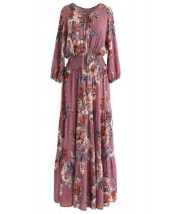 Floral Maxi Dress in Berry