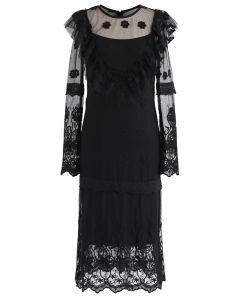 Petal Embroidered Ruffle Mesh Dress in Black
