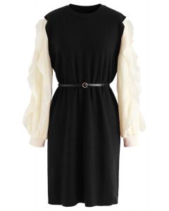Belted Ruffle Sleeves Spliced Knit Shift Dress in Black