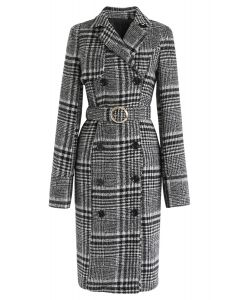 O-Ring Belted Plaid Double-Breasted Longline Coat