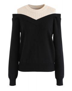 Bicolor Ribbed Knit Top in Black