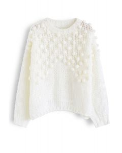 Hand-Knit Pom-Pom Trim Fluffy Sweater in White