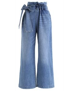 Bowknot High-Waisted Wide-Leg Jeans