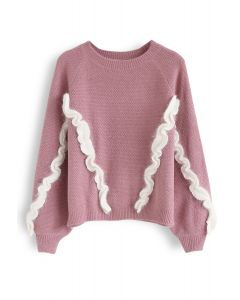 Fuzzy Ruffle Embellished Knit Sweater in Pink