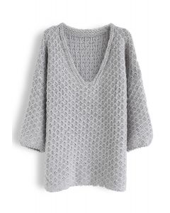 Hollow Out V-Neck Oversized Knit Sweater in Grey