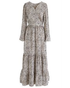 Flowy Leopard Print V-Neck Maxi Dress in Ivory