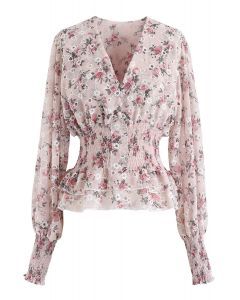 Floral Print Eyelet Embroidered Peplum Top in Pink