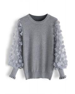 3D Flower Mesh Sleeves Knit Top in Grey