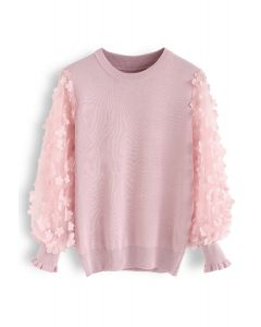 3D Flower Mesh Sleeves Knit Top in Pink