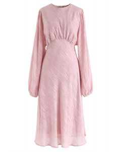 Slanted Lines Puff Sleeves Midi Dress in Pink