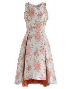 Sweet Orange Bouquets Jacquard Hi-Lo Dress