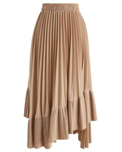 Asymmetric Hem Pleated Midi Skirt in Tan