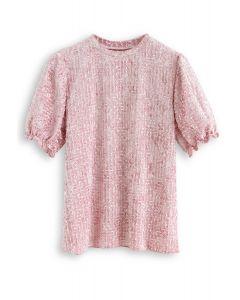 Tassel Trim Puff Sleeves Velvet Top in Pink