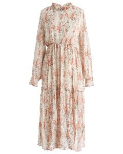 Spring Floret Ruffle Chiffon Dress in Cream