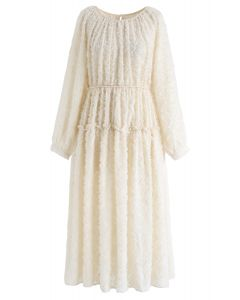 Creamy Feathers Tassel Sheer Dress