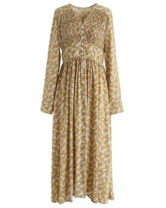 Floret Aplenty Chiffon Dress in Mustard