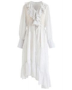 Dots Ruffle Trim Asymmetric Dress in White