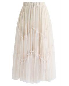 Ruffle Detail Asymmetric Mesh Tulle Skirt in Cream