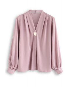 Button Embellished Satin V-Neck Top in Pink