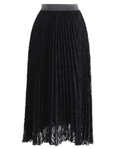 Feathers Tassel Pleated Midi Skirt in Black
