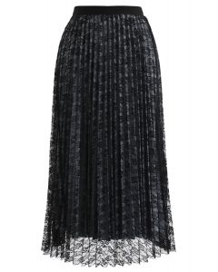 Reversible Floral Mesh Pleated Midi Skirt in Black