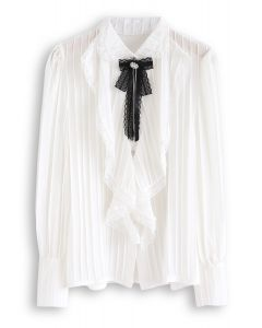 Crystal Lace Brooch Pleated Sheer Top in White