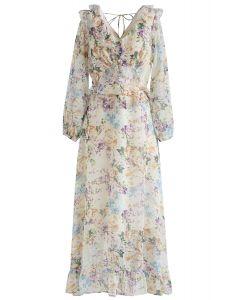 Variegated Watercolor Floral Ruffle Maxi Dress