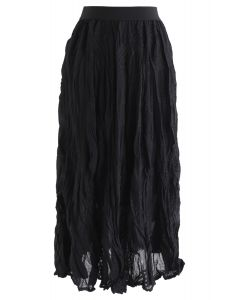 Slanted Embroidered Pleated Midi Skirt in Black
