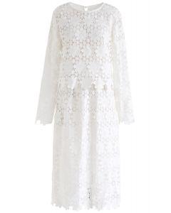 Full Sunflower Crochet Top and Skirt Set in White