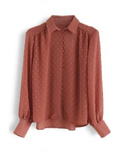 Flock Dots Button Front Hi-Lo Shirt in Coral