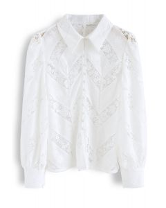 Eyelet Crochet Floral Buttoned Top in White