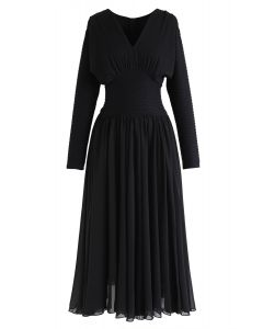 Shirred V-Neck Pleated Sleeves Dress in Black