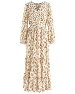 Summer Leaf Print Wrap Maxi Dress in Cream