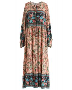 Boho Floral Puff Sleeves Loose Maxi Dress in Cream