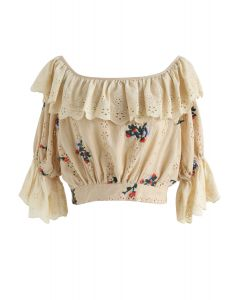 Square Neck Eyelet Embroidered Ruffle Crop Top