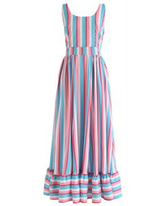 Color Blocked Stripes Frill Hem Cami Dress